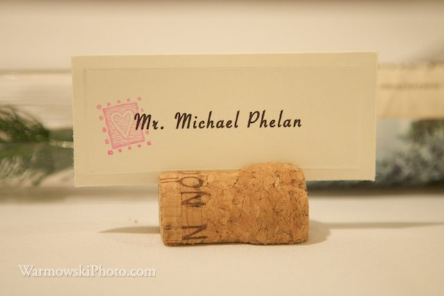 Wine and champagne corks make perfect place card holders. Copyright Warmowski Photography