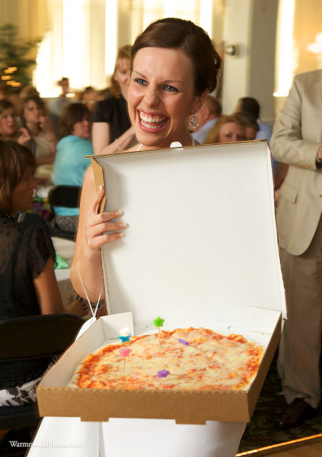 Julie Wilkinson celebrates the birthday of her bridesmaid, Audrey, with a special delivery from Leo's Pizza.