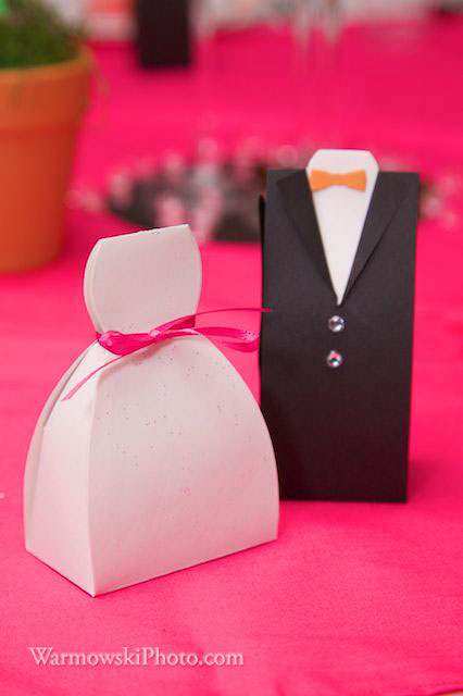 Hand-made paper candy boxes at each place setting.