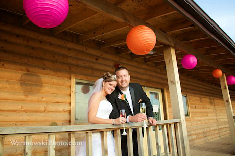 Chinese lanterns added a personal touch to the banquet hall at Kristen & James Buchanan's wedding.