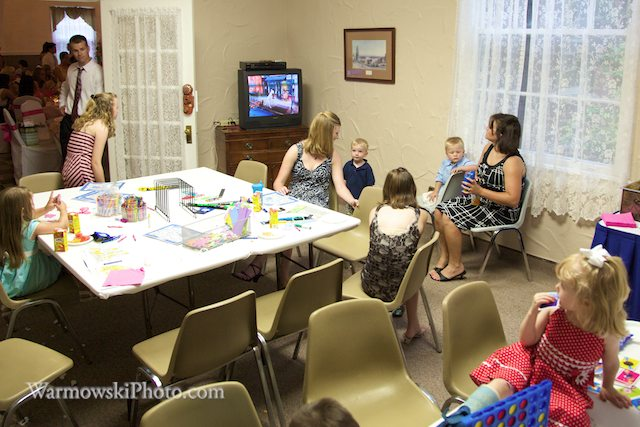 "Emily Scobbie & Cliff Bumgarner provided their littlest guests with a room with snacks, movies, games and lots of little things to do while the ""big kids"" have their fun in the ballroom at MacMurray College in Jacksonville, Illinois."