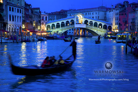 Gondolas in the Grand Canal by Rialto Bridge, Venice