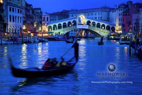 Gondolas in the Grand Canal by Rialto Bridge, Venice