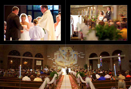 Pages from coffee table book, wedding at Our Saviour Catholic Church in Jacksonville, Illinois, 62650.