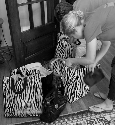 One of the bridesmaids gifts was a tote bag in which the ladies could carry their wedding weekend necessities. Copyright 2010 Warmowski Photography