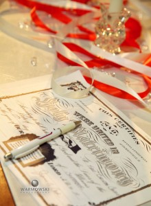 Wedding license and ribbons on altar, image by Warmowski Photography