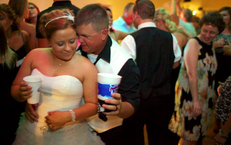 Dancing at wedding reception, Virginia Illinois, by Warmowski Photography