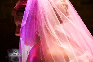 bride under stained glass light, Warmowski Photography