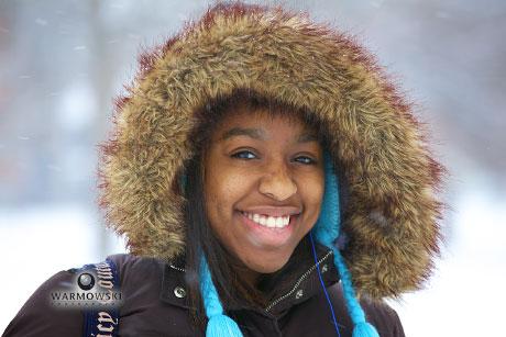 Fuzzy hood helps keep Illinois College student warm, Warmowski Photography