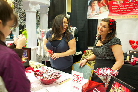 Showing products at bridal show