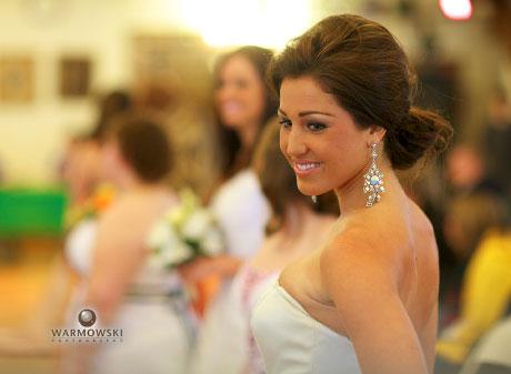 Close up of model during wedding dress style show, Rushville Illinois, Warmowski Photography