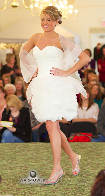 Model with short wedding dress, style show at bridal expo, WarmowskiPhotography.com