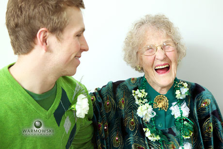 Eileen laughs during 90th birthday party; photo by WarmowskiPhotography.com