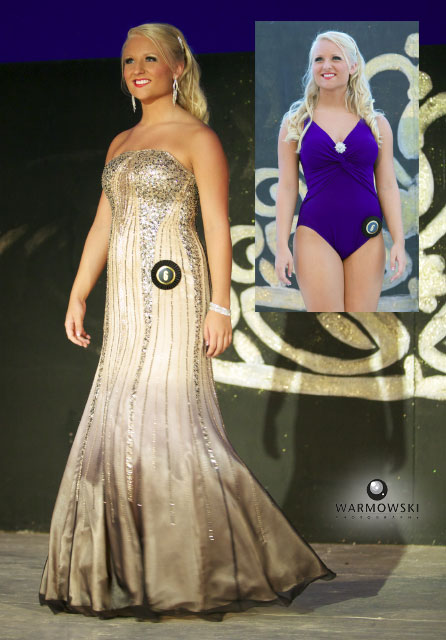 Calla Kaufmann — swimsuit and evening gown.