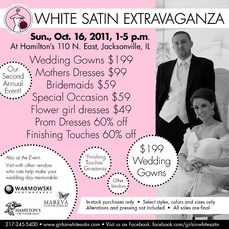 Girls in White Satin Extravagaza flyer
