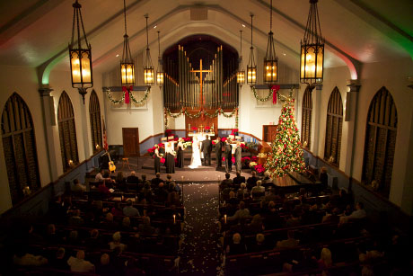 Church in Springfield was still beautifully decorated for Christmas