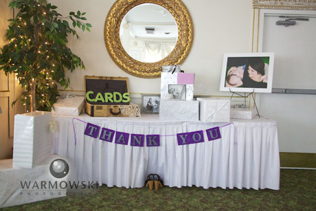 Jenna craigs wedding decor at hamiltons tiffany steves blog the gift table continued the purple green theme negle Gallery
