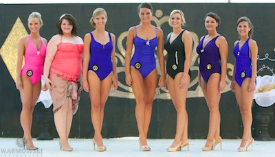 Queen contestants in swimsuits.