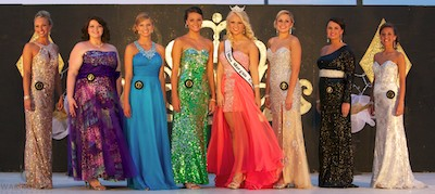 Queen contestants in evening gowns.