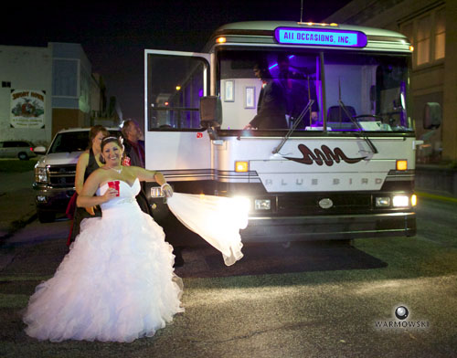 Bride comes of party bus to reception, http://www.warmowskiphoto.com