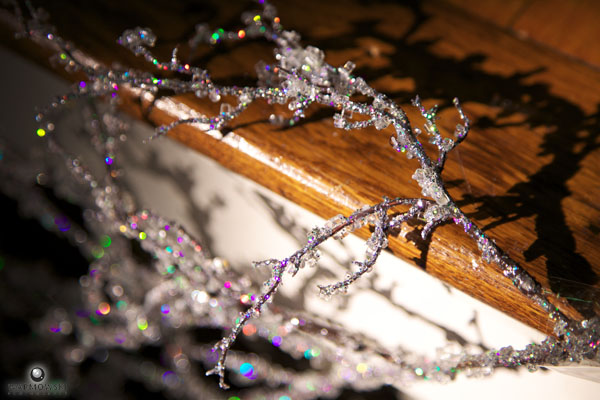 Sparkly branches kept with an icy wedding theme.