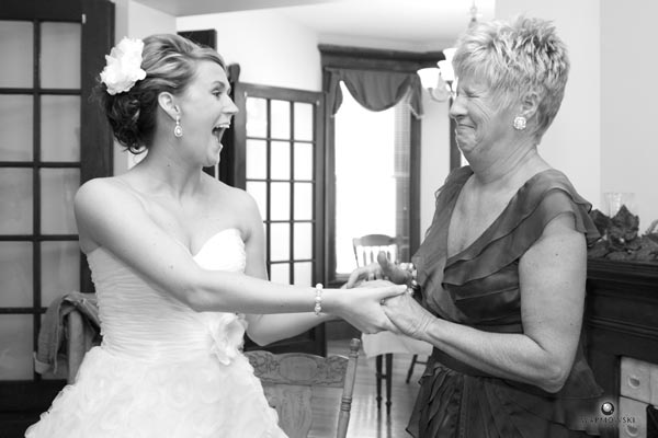 Ashley and her mother after putting on her wedding dress.