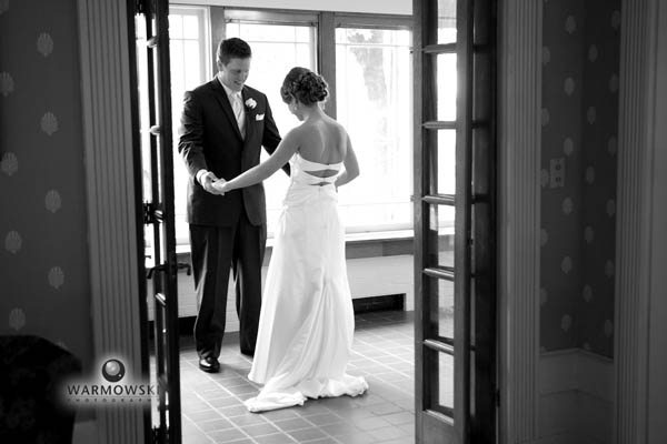 Sarah & Billy's first look before portraits at Broadview Mansion in Bloomington-Normal, Illinois.