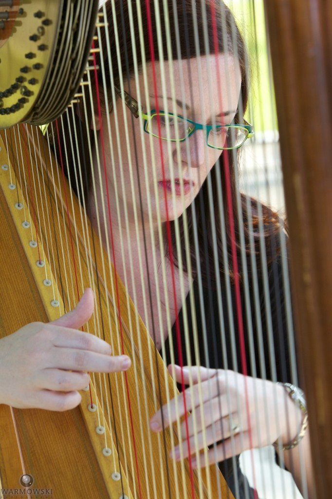 Devon Haupt of The Classic Harpist performs at a wedding at the Washington Park gazebo in Springfield.
