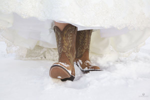 Katelin and her cowboy boots for a cold, cold January wedding at MacMurray College.