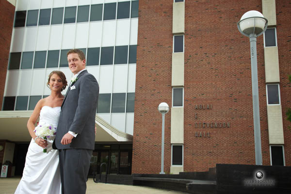Sarah & Billy working Illinois State University's Stevenson Hall into their wedding photos.