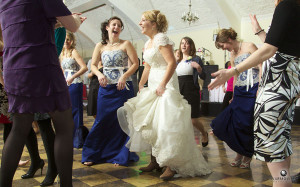 Katelin dances during her reception at the MacMurray College McClelland Dining Hall.