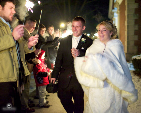 Katelin & Brian leave at the end of the night with sparklers all around.