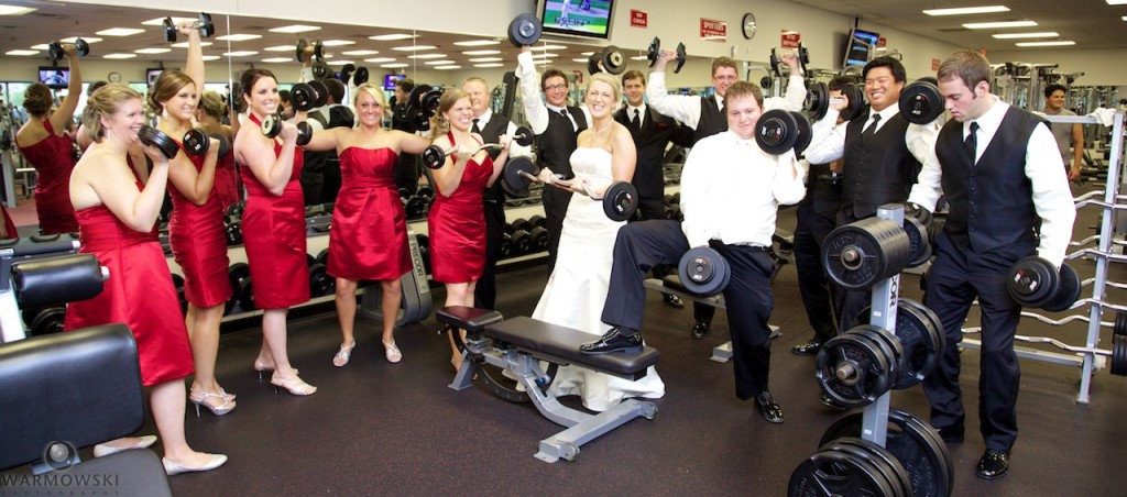 Amanda & Luke with their wedding party stop at their health club.