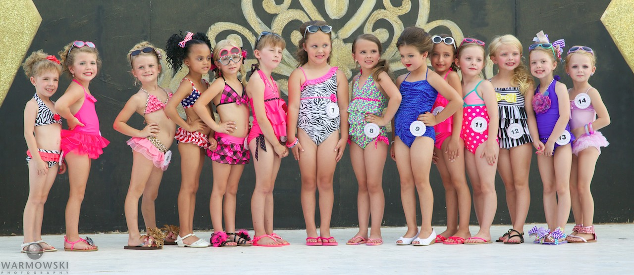 Morgan County Fair princess contestants in swimwear.