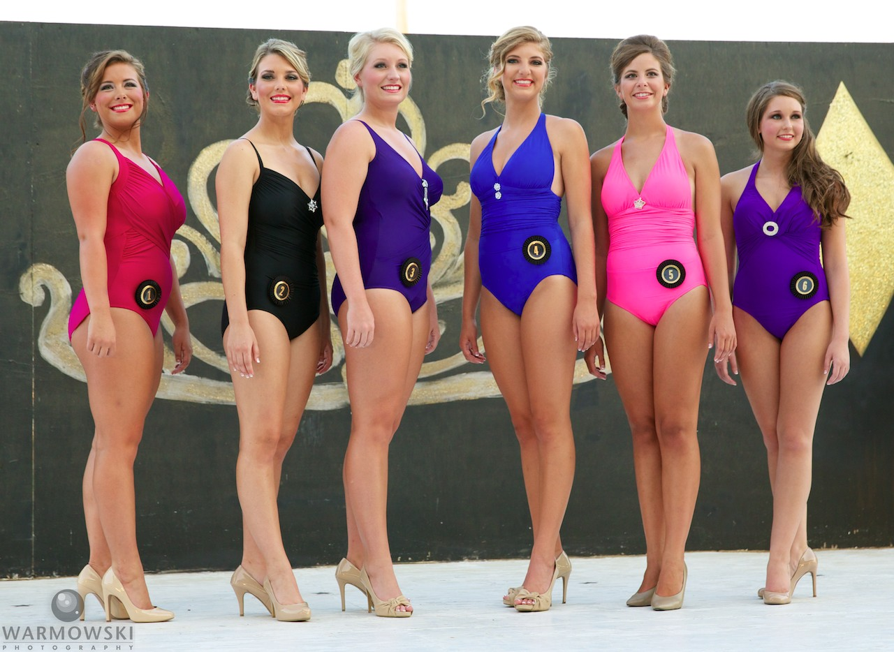 Morgan County Fair queen contestants in swimwear.