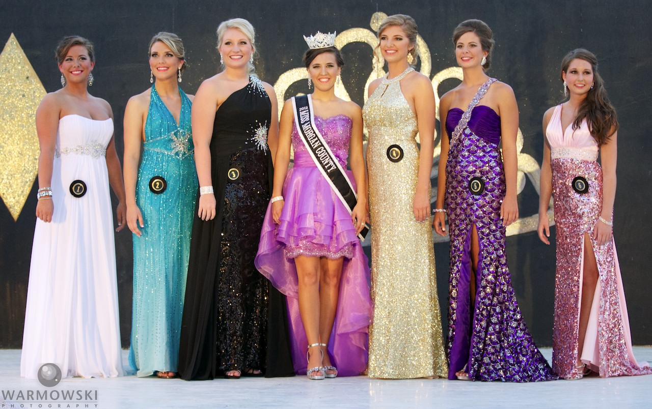 Morgan County Fair queen contestants in evening gowns.