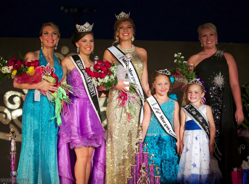 2013 Morgan County Fair royalty (from left) Brianna Klein, Lauren Martin, Sydne Peck, Kenadi Ryan, December Mitchell & Maurissa Moulton.