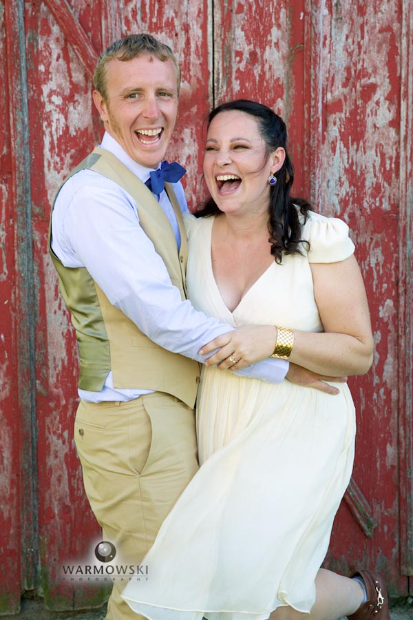 Fun portraits with Katie & Zach, outside historic family barn.