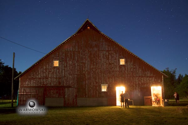 Barn at night.