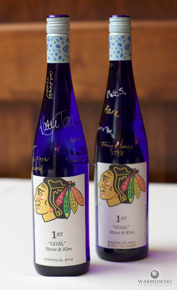 Blue wine bottles, signed