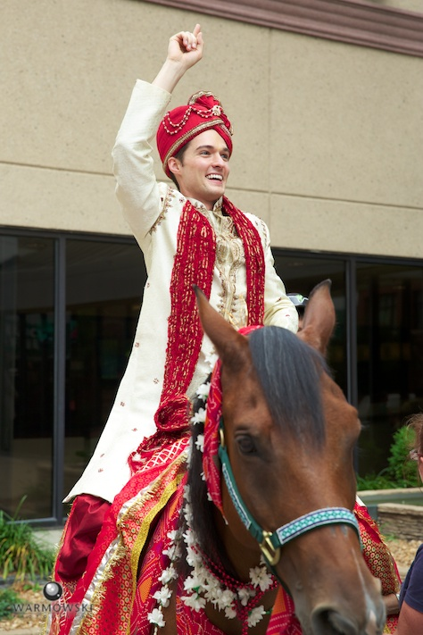 Groom on white horse, Indian wedding