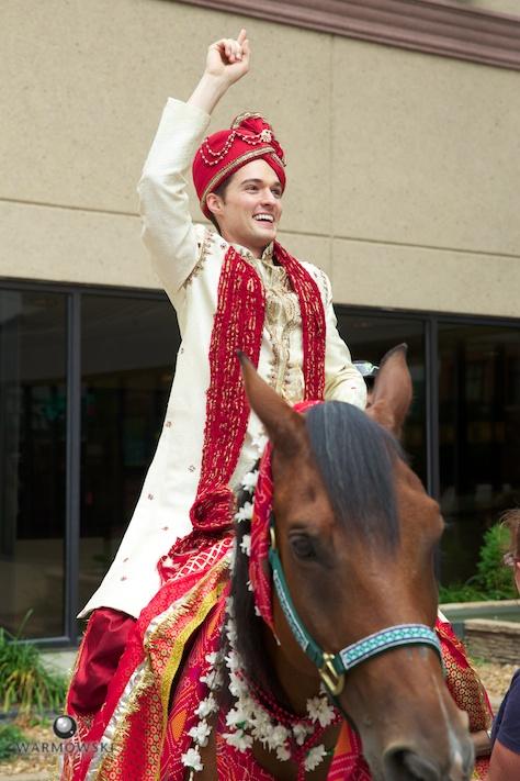 Groom on white horse, Indian wedding
