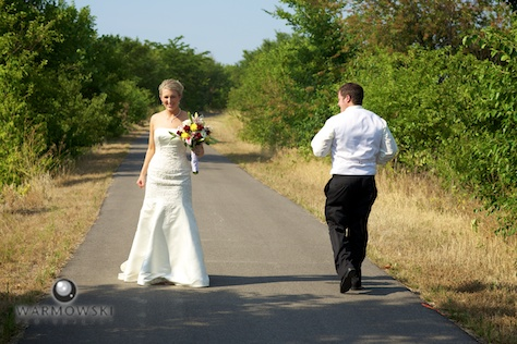 Bride & groom job on bike path