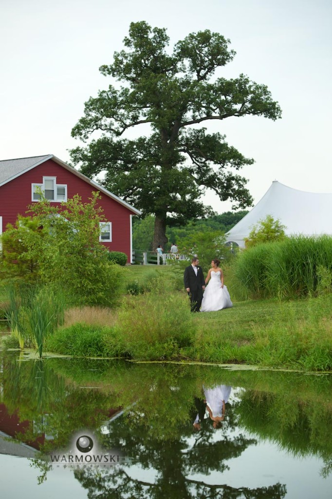 bride & groom by farm pond