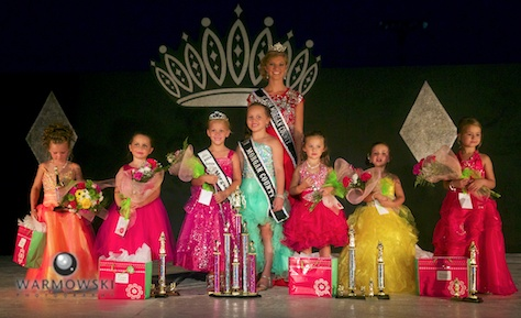 (From left) People's Choice Jamisyn Wood, 2nd runner up Kamdyn Johnson, 2014 Princess Addyson James, 2013 Princess Kenadi Ryan, 1st runner up Ella Beard, Best Stage Presence Jaycee Bates, and Best Interview McKenzie McGee.