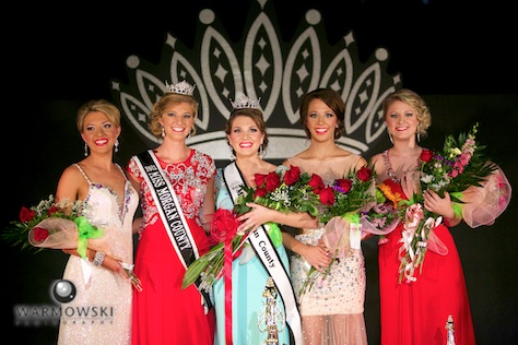 (From left) 2nd runner up Caisey DeOrnellas, 2013 Queen Sydne Peck, 2014 Queen Brianna Klein, Best Speech Jori Brennan, and Best Interview, Miss Congeniality & People's Choice Payton McClenning.