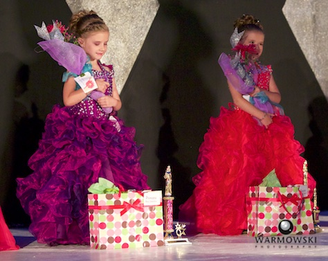 Twins Jaylee (left) and Saydee Crafton in Evening gown. Jaylee won Best Interview and Saydee won Best Stage Presence.