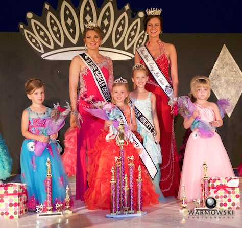 (Girls from left) 1st Runner Up Jenna Shillings, 2015 Princess Nevaeh Benz, 2014 Princess Addyson James, and 2nd Runner Up Marlee JoAnn Barnhill.