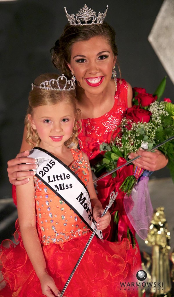 Morgan County Fair Pageant 2015 Queen Abby Tomhave and 2015 Princess Nevaeh Benz.