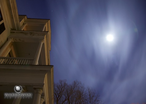 Full moon and the Gov. Duncan Mansion, November 2015. Photo by Steve of Warmowski Photography